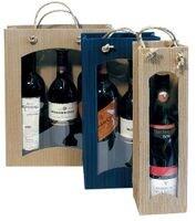 Pochettes cadeau pour bouteille - 1 bouteille (avec fenêtre de visualisation)