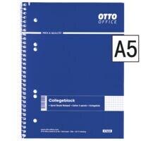 OTTO Office Cahier à spirale Standard, A5, à carreaux, 80 feuille(s)