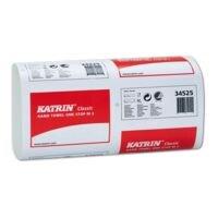 Essuie-mains en papier Katrin Katrin Classic 2 épaisseurs, blanc, 23,5 cm x 25 cm de Ouate de cellulose avec pliage en I - 3045 feuilles au total