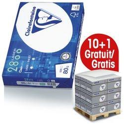 10x Papier imprimante multifonction A4 Clairefontaine 2800 - 5000 feuilles au total, 80 g/m² avec Distributeur bloc-notes