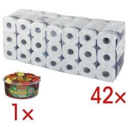 Tork papier toilette premium 4 épaisseurs, blanc - 42 roulettes (7 paquets de 6 roulettes) avec Bonbons gélifiés «Phantasia»