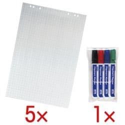 OTTO Office 5 blocs pour flipchart à carreaux avec paquet de 4 feutres à flipchart