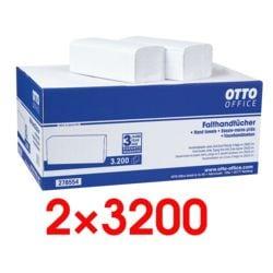 2x Essuie-mains en papier OTTO Office Standard 2 épaisseurs, blanc nature, 25 cm x 23 cm de Ouate de cellulose avec pliage en Z - 6400 feuilles au total