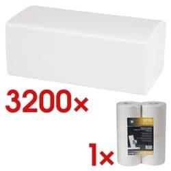 Essuie-mains en papier OTTO Office 2 épaisseurs, blanc, 25 cm x 23 cm de Ouate de cellulose avec pliage en Z - 3200 feuilles au total avec Rouleaux d'essuie-tout 1 épaisseur non tissé, 2 rouleaux