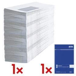 Enveloppes OTTO Office, C6 80 g/m² sans fenêtre - 1000 pièce(s) avec Bloc de correspondance A5 à carreaux