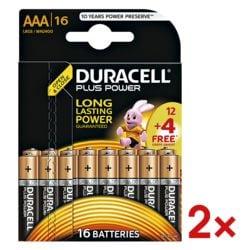Duracell 2x paquet de 16 piles « Plus Power » Micro / AAA 12+4 Promo