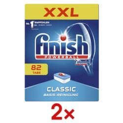 finish 2x paquet de 82 tablettes pour lave-vaisselles « Classic XXL »