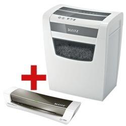 destructeur de documents LEITZ Home Office P4, Niveau de sécurité 4, coupe « croisée » (4 x 28 mm) jusqu'à 10 feuille(s) avec Plastifieuse A4 « iLam Home Office - gris (73680089) »