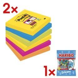 2x Post-it 7,6 x 7,6 cm Super Sticky « Rio de Janeiro », 540 feuilles au total, couleurs assorties 6546SR avec Bonbons gélifiés « Schtroumpfs »
