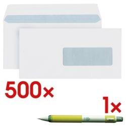 enveloppes Mailmedia, DL+ 80 g/m² avec fenêtre, fermeture à bande adhésive - 500 pièce(s) avec Porte-mine « Yula-Sha » 0,7 mm HB