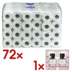 OTTO Office papier toilette 3 épaisseurs, blanc - 72 rouleaux (9 paquets de 8 rouleaux) avec Lot de cadeaux parfum d'intérieur « ipuro flower bowl »