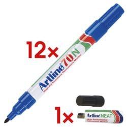 12x Artline marqueur indélébile 70N - pointe ogive, Epaisseur de trait 1,5 mm avec Clé USB