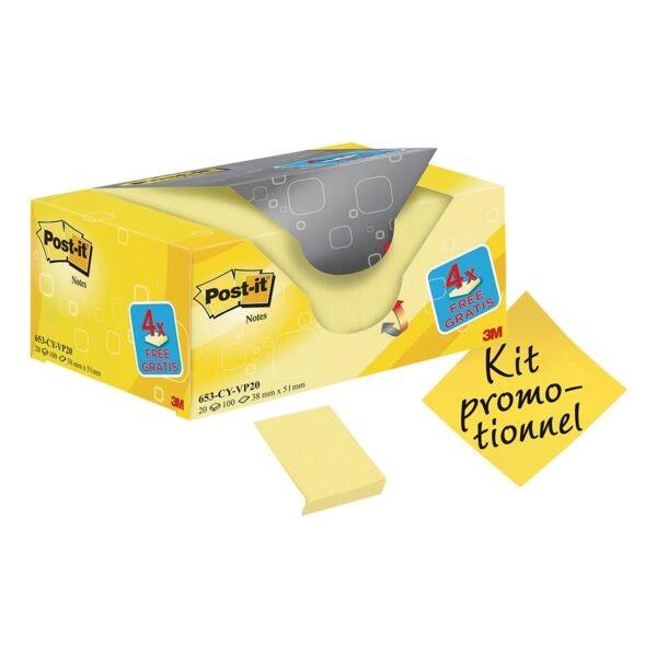 20x Post-it Notes bloc de notes repositionnables Notes 5,1 x 3,8 cm, 2000 feuilles au total, jaune