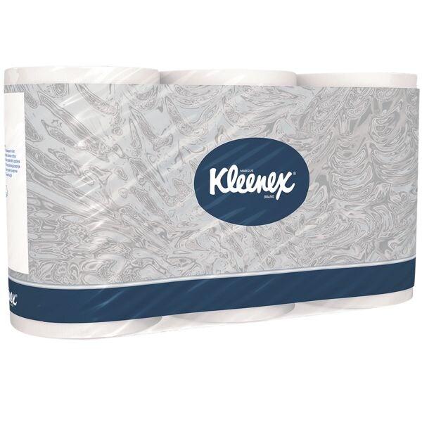 Kleenex papier toilette papier toilette Kleenex 3 épaisseurs, blanc - 6 rouleaux (1 paquet de 6 rouleaux)