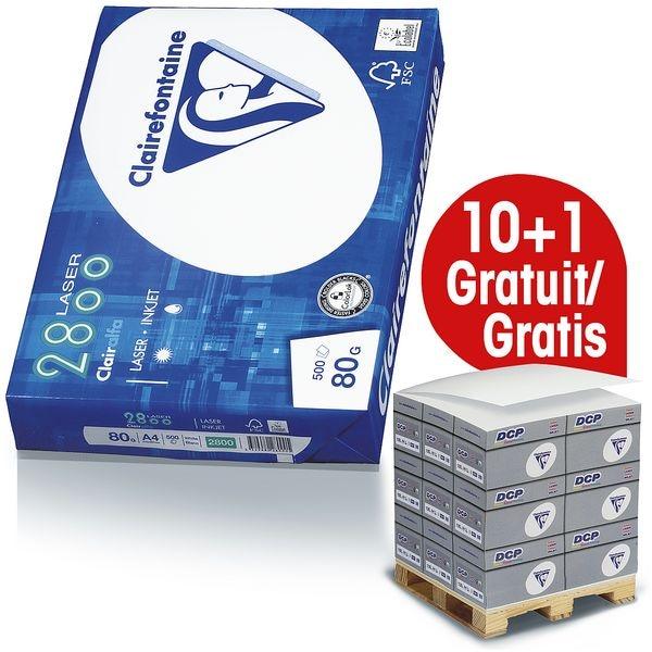 10x Papier imprimante multifonction A4 Clairefontaine 2800 - 5000 feuilles au total, 80g/m² avec Distributeur bloc-notes