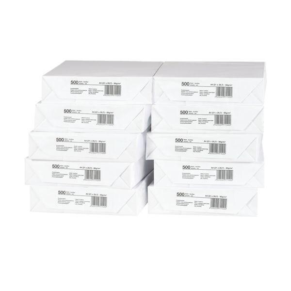 10x Papier photocopieur A4 - 5000 feuilles au total, 80 g/m²