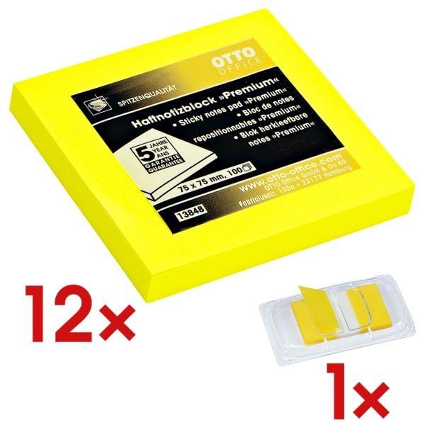12x OTTO Office Premium bloc de notes repositionnables premium 7,5 x 7,5 cm, 1200 feuilles au total, jaune avec Marque-pages 43 x 25 mm