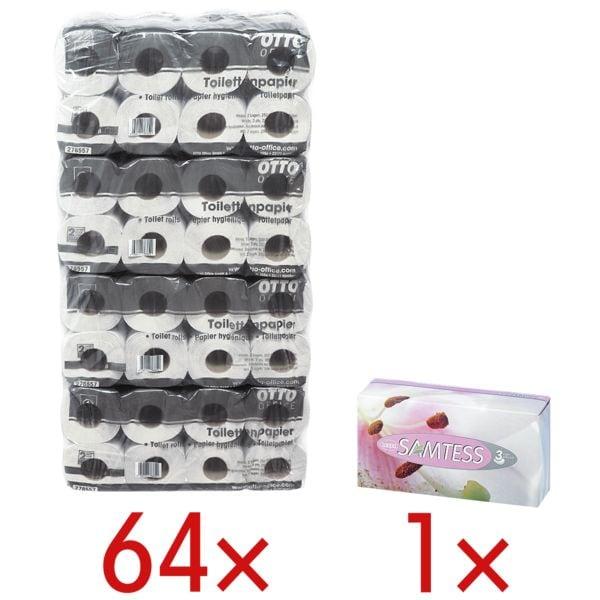 OTTO Office Budget papier toilette Budget 2 épaisseurs, blanc nature - 64 rouleaux (8 paquets de 8 rouleaux) avec 90 mouchoirs