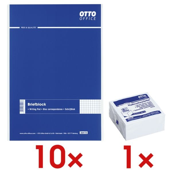 10x OTTO Office bloc de correspondance, à carreaux avec Bloc cube de notes repositionnables blanc 75x75 mm 400 feuilles