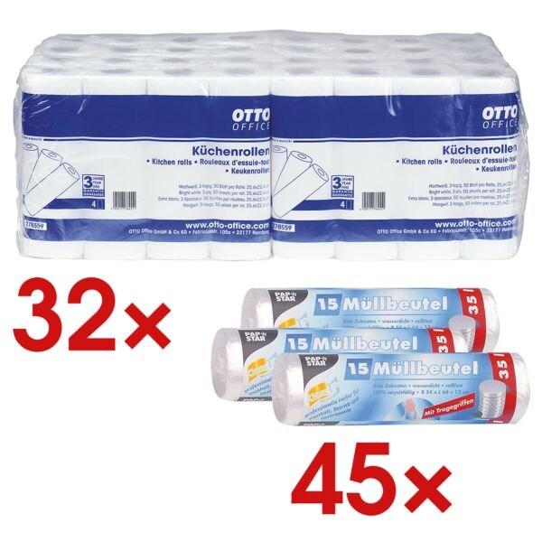 OTTO Office 32 rouleaux d'essuie-tout triple épaisseur (8 paquets à 4 rouleaux) avec 45 sacs poubelle (3 rouleaux à 15 pièces)