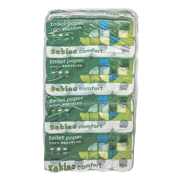 Satino comfort papier toilette 2 épaisseurs, blanc - 64 rouleaux (8 paquets de 8 rouleaux)