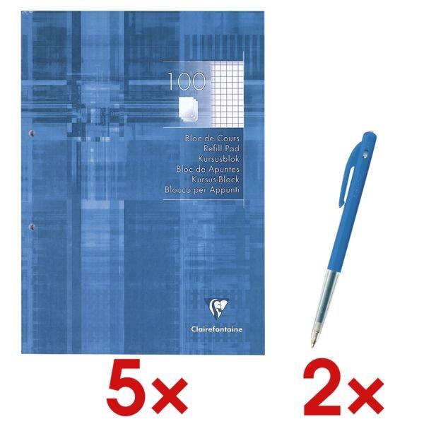 5x Clairefontaine cahier à spirale A4 à carreaux, 100 feuille(s) avec 2x Stylo-bille rétractable « M10 »