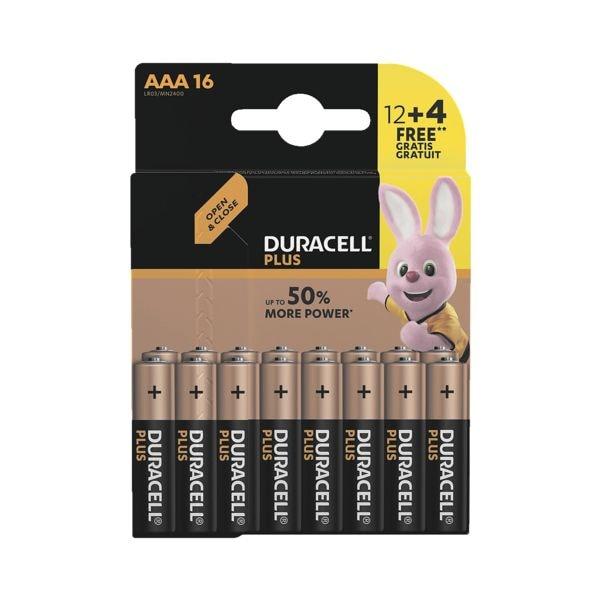 Duracell Paquet de 16 piles « Plus » Micro / AAA 12+4 Promo