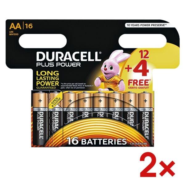Duracell 2x paquet de 16 piles « Plus Power » Mignon / AA 12+4 Promo