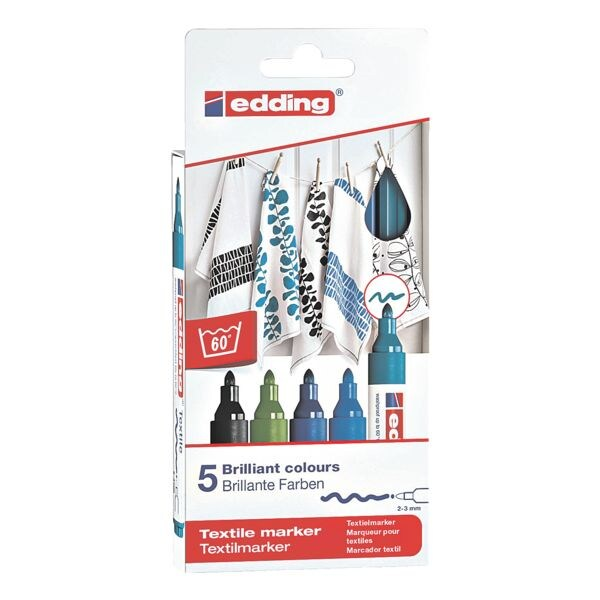 edding Paquet de 5 marqueurs textile « 4500/5099 Cool Colours »