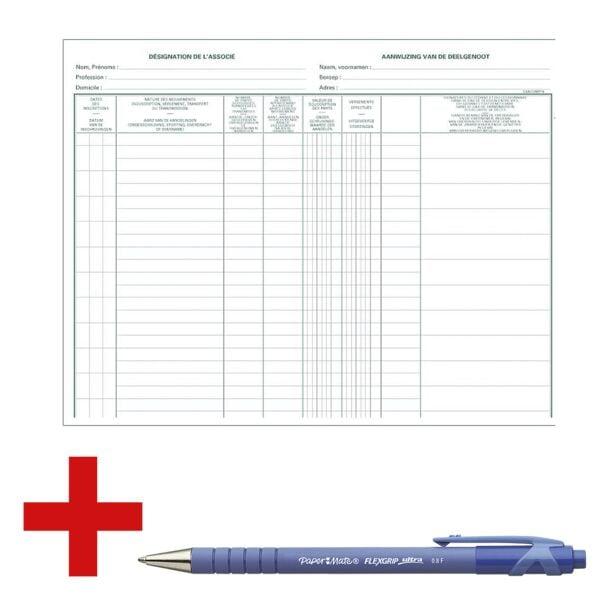 EXACOMPTA Livre de compte « 9400X » avec stylo-bille « Flexgrip Ultra »