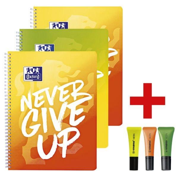 3x Oxford cahier à spirale Never give up A4+ à carreaux, 80 feuille(s) avec 3x Surligneur « NEON », gelb/orange/grün