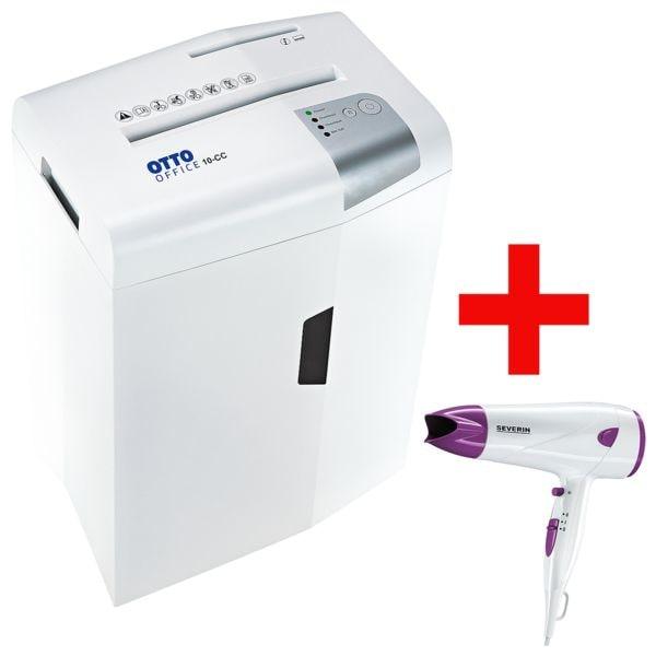 destructeur de documents OTTO Office 10-CC, Niveau de sécurité 4, coupe « croisée » (4,5 x 30 mm) jusqu'à 10 feuille(s) avec Sèche-cheveux « HT 0174 »