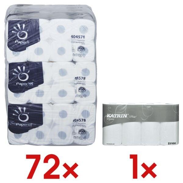 Papernet papier toilette 4 épaisseurs, blanc - 72 rouleaux (9 paquets de 8 rouleaux) avec Rouleaux d'essuie-tout  « Plus »