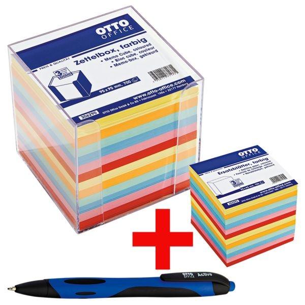 OTTO Office Boîte de fiches avec papier couleur, stylo à bille « Active » incl. et feuilles de rechange couleur