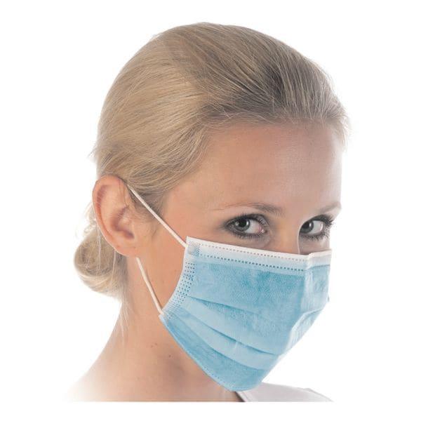 Franz Mensch Paquet de 50 masques respiratoires « Hygostar », triple épaisseur, bleu