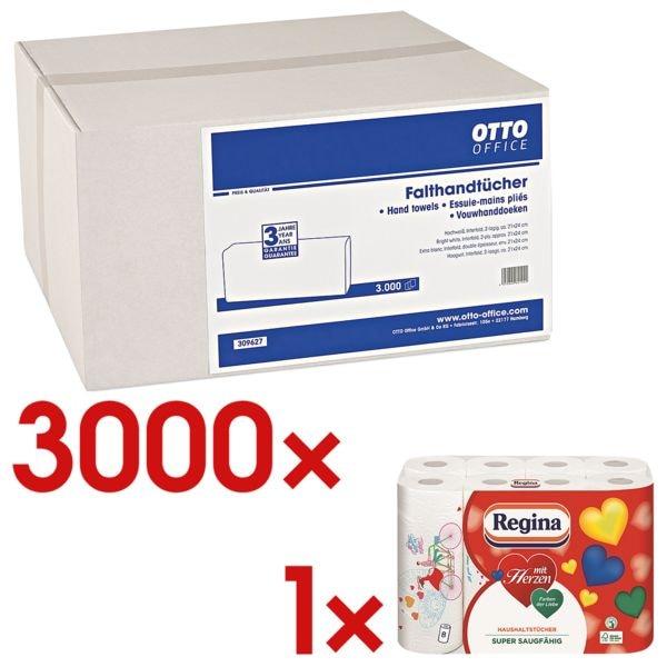 Essuie-mains en papier OTTO Office 2 épaisseurs, blanc, 21 cm x 24 cm de Cellulose avec pliage en I - 3000 feuilles au total avec Paquet de 8  rouleaux d'essuie-tout