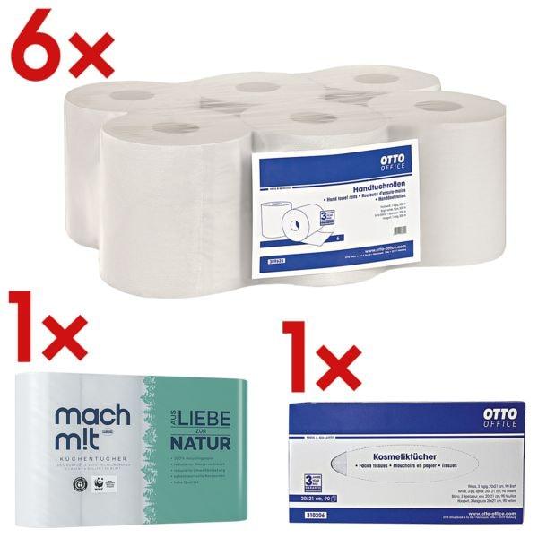 6x rouleau de serviettes OTTO Office, 1 épaisseur, blanc, 19 cm x 300 m en papier recyclé, déroulement intérieur/extérieur avec Rouleaux d'essuie-tout triple épaisseur, 4 rouleaux+Boîte à mouchoirs, 90 mouchoirs