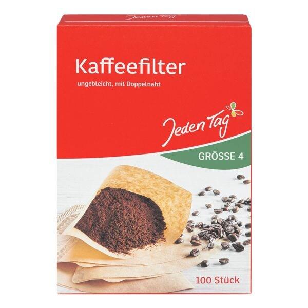Jeden Tag Paquet de 100 filtres à café marron nature, taille 4