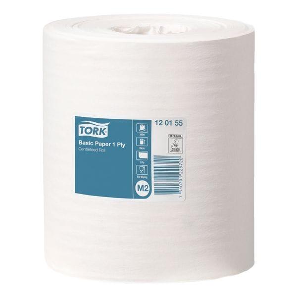 6 bobines d'essuie-mains papier blanc épaisseur simple (blancs, non perforés, 20 cm x 300 m)
