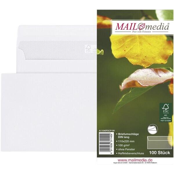 enveloppes Mailmedia, DL 100 g/m² sans fenêtre, fermeture à bande adhésive - 100 pièce(s)