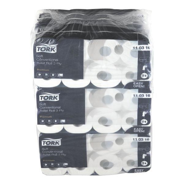 Tork papier toilette 110316 premium 3 épaisseurs, blanc - 72 rouleaux (9 paquets de 8 rouleaux)
