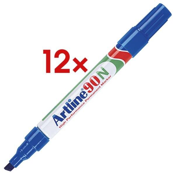 12x Artline marqueur indélébile 90N - pointe biseautée, Epaisseur de trait 2,0  - 5,0 mm (XB)