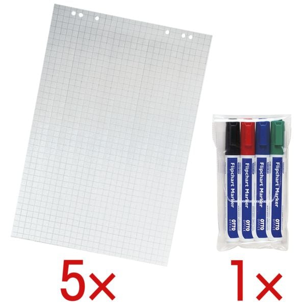 5 Flipchartblöcke kariert inkl. 4er-Pack Flipchart Marker | Büro > Tafeln und Boards > Flipcharts | OTTO Office