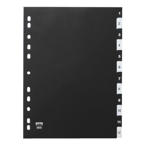 Kunststoffregister 1-12 A4 schwarz-weiß bei Office Discount - Bürobedarf