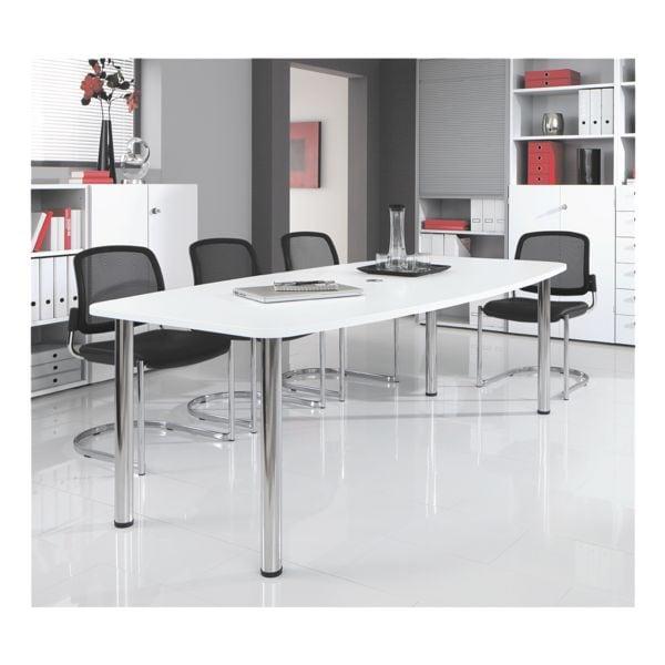 Konferenztisch »Chicago« bis 8 Personen in Tonnenform mit Tischbeinen | Büro > Bürotische > Konferenztische | Abs - Metall | HAMMERBACHER