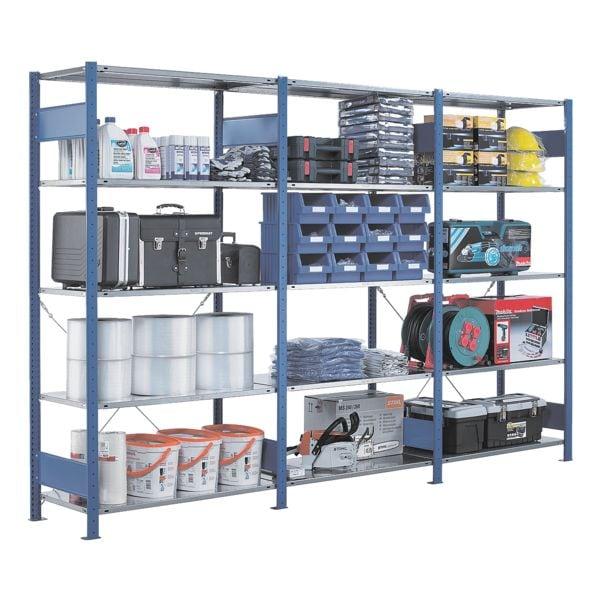 Steckregal - Anbauregal, 100 x 80 x 250 cm, verzinkt/blau | Baumarkt > Werkbank | SCHULTE Lagertechnik