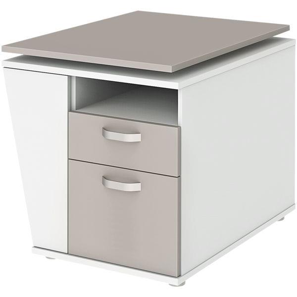 Anstellcontainer »start.now« mit elektrisch höhenverstellbarer Tischplatte, link   Büro > Büroschränke > Container   Weiß   Abs   röhr