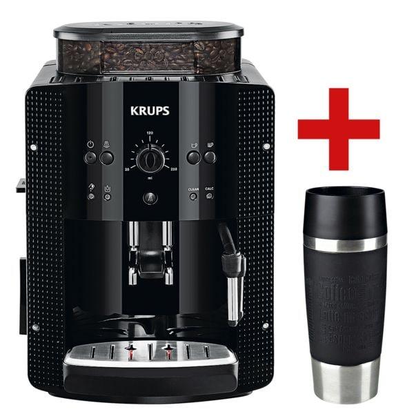 Espresso-Kaffeevollautomat »EA8108« inkl. Thermobecher »TRAVEL MUG« | Küche und Esszimmer > Kaffee und Tee > Kaffeevollautomaten | Espresso - Coffee - Schwarz | Krups