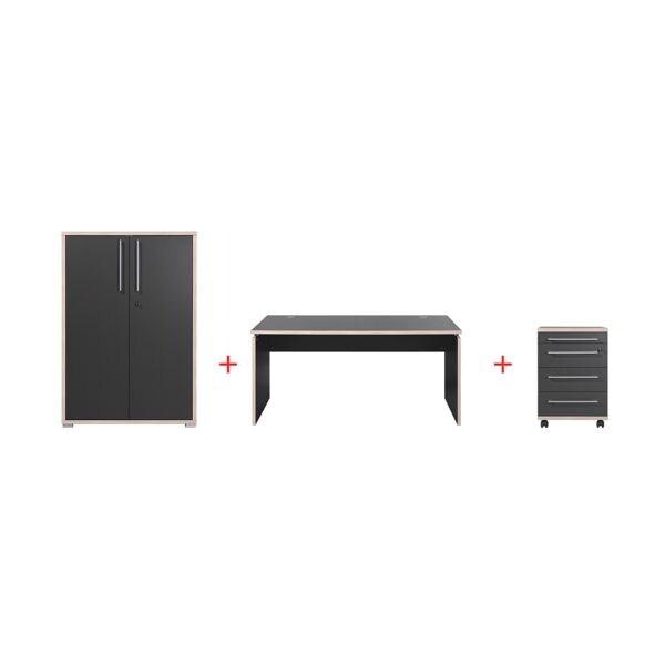 Möbel-Set »Duo« 3-teilig, Schreibtisch mit Wangenfuß